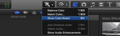 Final Cut Pro X : Show Color Board